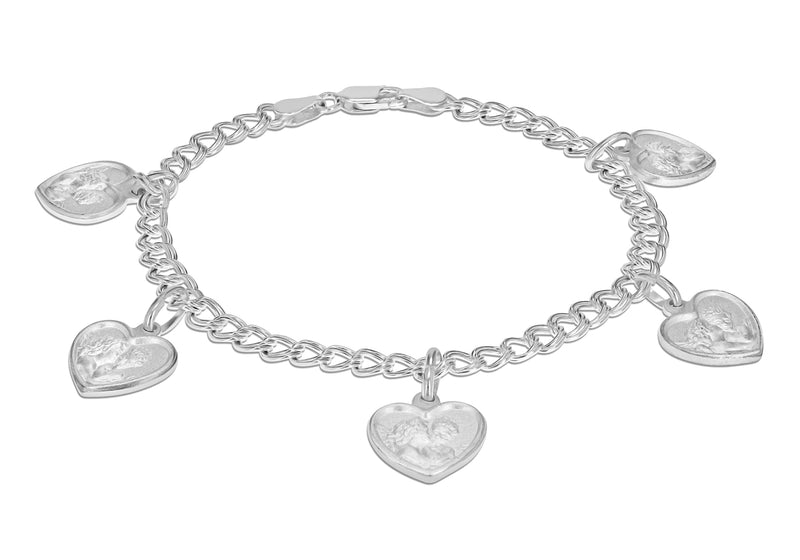 "Sterling Silver Hearts with Angels Charms Double Panza Bracelet 19m/7.5""9"