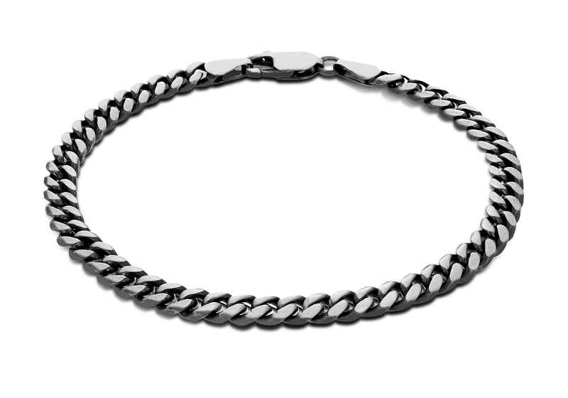 Sterling Silver Oxidised  5mm Brushed Curb Bracelet 20m/8'9