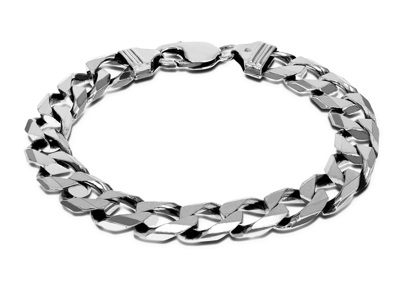 "Sterling Silver Rhodium Plated 10mm Square Curb Bracelet 21.5m/8.5""9"