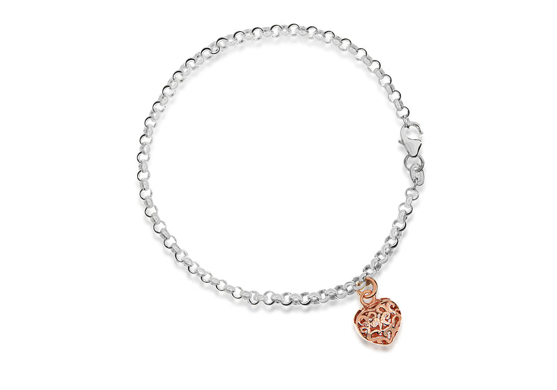 "Sterling Silver Rose Gold Plated 9mm x 8mm Heart Charm Belcher  Bracelet 19m/7.5""9"