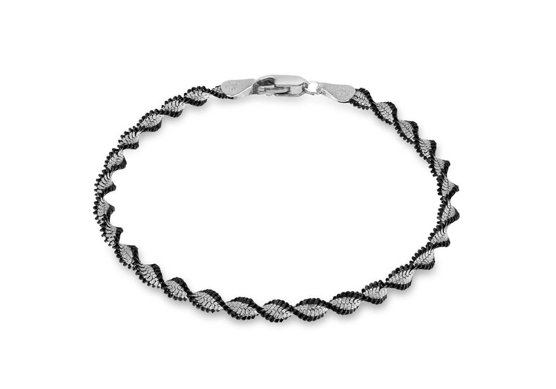 "Sterling Silver Oxidised  4mm Twisted Herringbone Bracelet 19m/7.5""9"