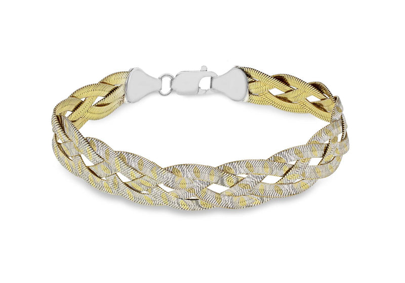 "Sterling Silver 2-Tone Reversible 4-Plait Herringbone Bracelet 19m/7.5""9"