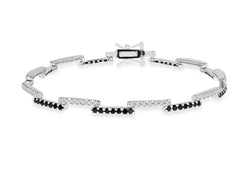 "Sterling Silver Black and White Zirconia  Zigzag Bracelet 19m/7.5""9"