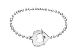 "Sterling Silver Rhodium Plated Open-Heart T-Bar Bracelet 19m/7.5""9"