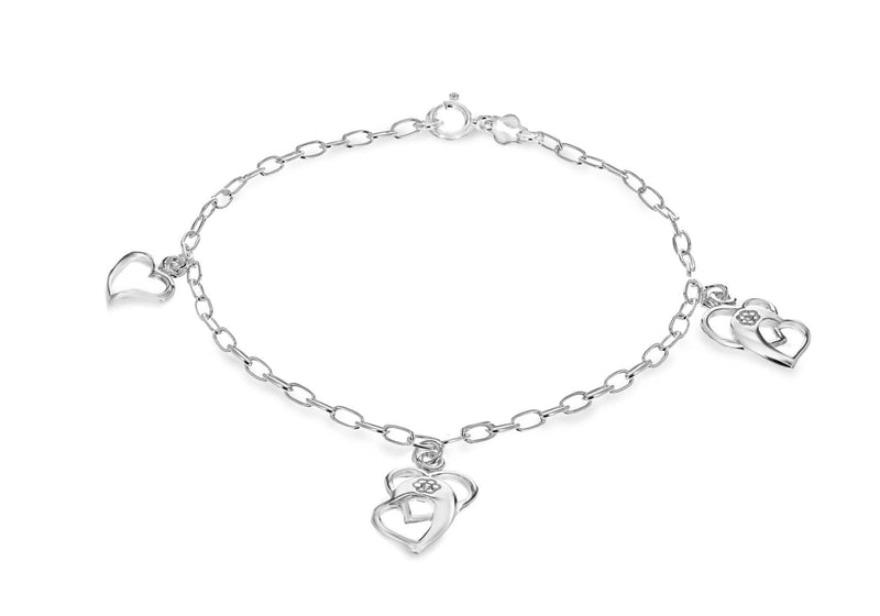 "Sterling Silver Rhodium Plated Zirconia  Multi Heart Bracelet 19m/7.5""9"