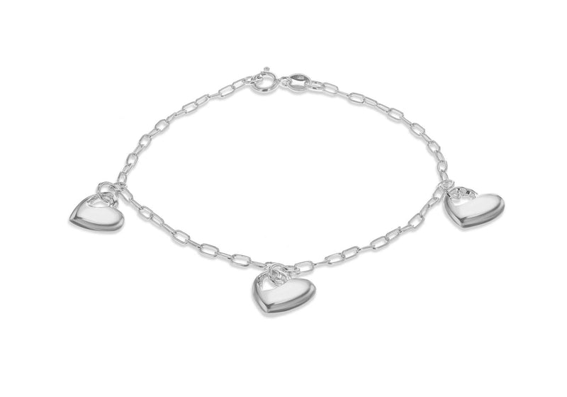 "Sterling Silver Rhodium Plated Triple Puffed Heart Charm Bracelet 19m/7.5""9"