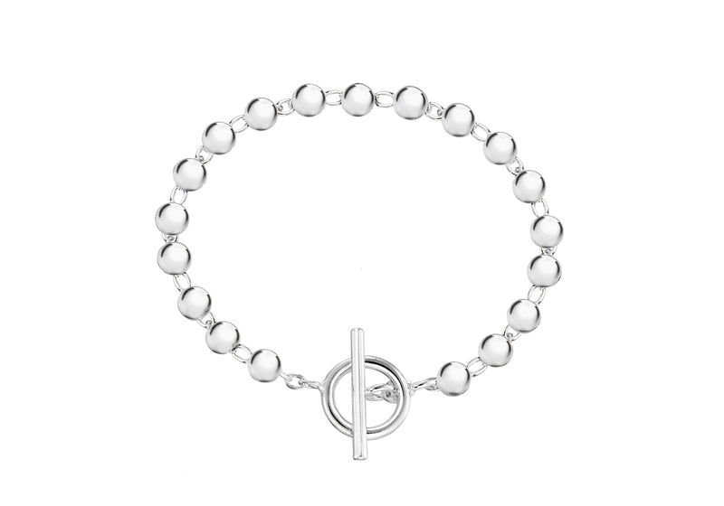 "Sterling Silver Ball T-Bar Bracelet 19m/7.5""9"