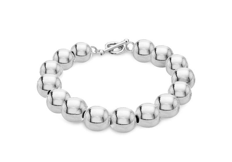 "Sterling Silver 12mm Ball T-Bar Bracelet 20m/8""9"