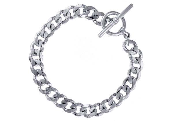 "Sterling Silver T-Bar Curb Bracelet 20m/8""9"