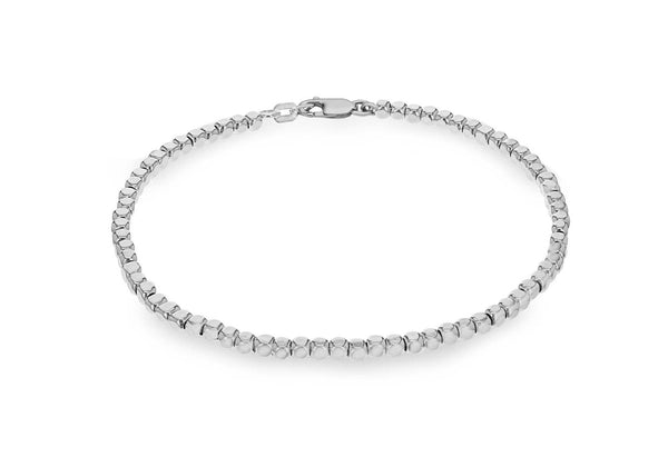 "Sterling Silver Round Edge ube Beads Bracelet 19m/7.5""9"