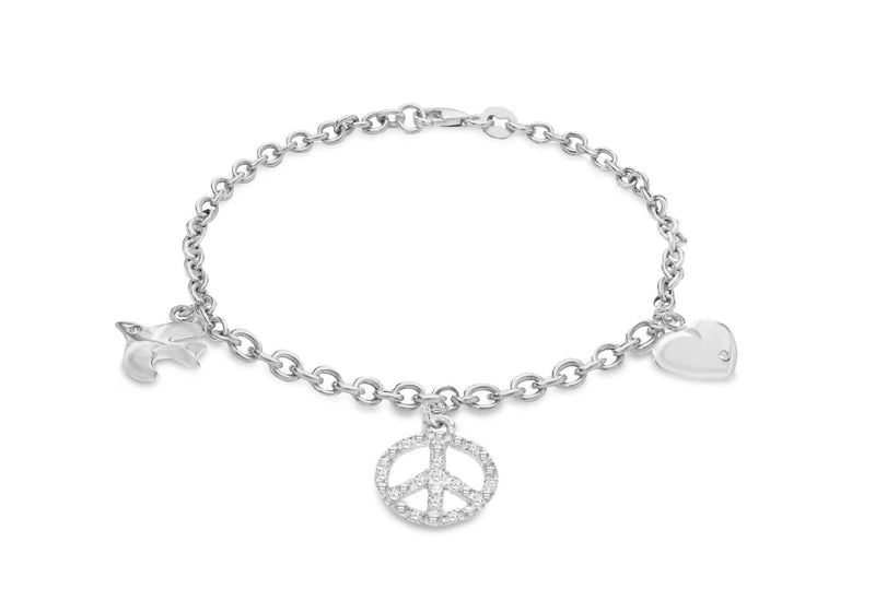Sterling Silver Rhodium Plated Zirconia Heart Peace Sign Dove Charm Bracelet