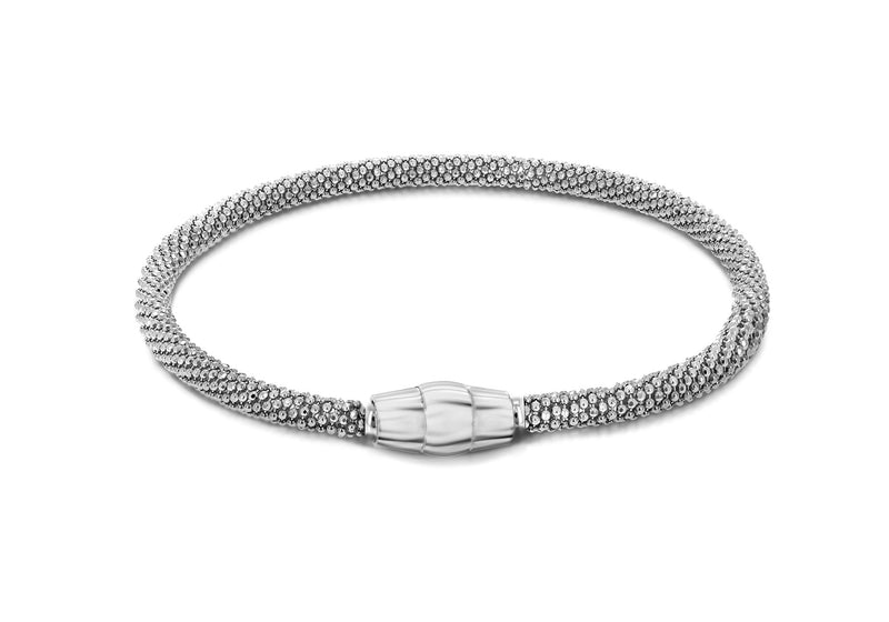 "Sterling Silver Rhodium Plated Sparkle Magnetic  Bracelet 19m/7.5""9"