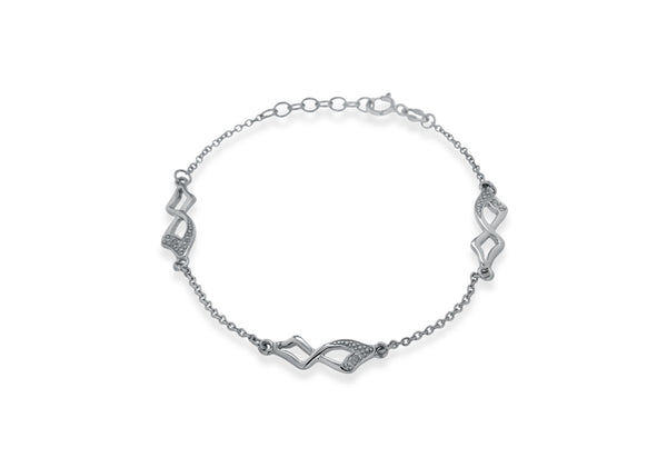 "Sterling Silver Rhodium Plated Diamond Square Twist Link Bracelet 19m/7.5""9"