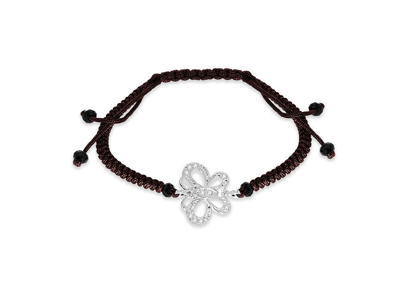 Sterling Silver Zirconia Butterfly on Brown Cotton Adjustable Bracelet