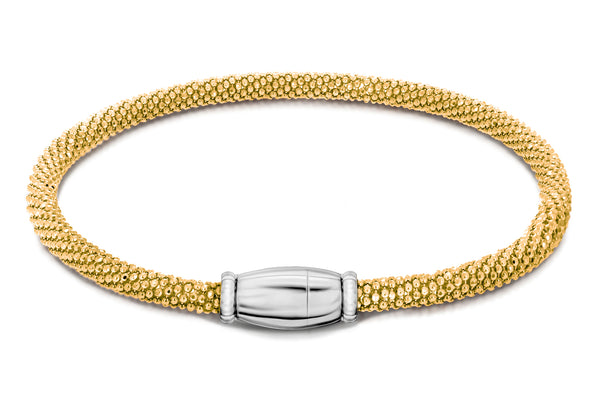 "Sterling Silver Yellow Gold Plated Sparkle Magnetic  Bracelet 19m/7.5""9"