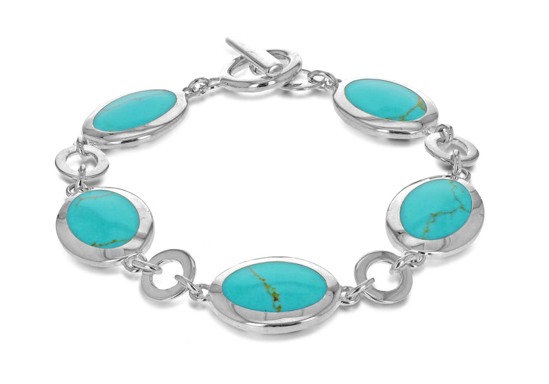 "Sterling Silver and Turquoise Oval Link Bracelet 19m/7.5""9"