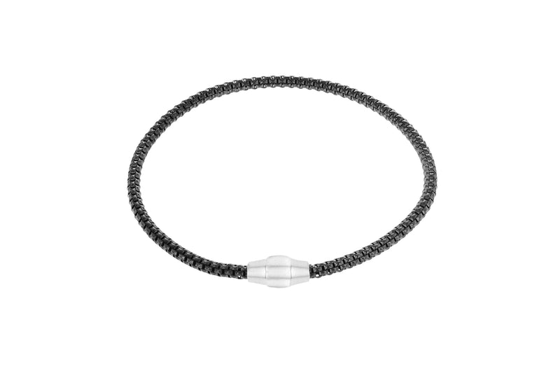 "Sterling Silver Black RCuthenium Plated 3mm Magnetic  Bracelet 19m/7.5""9"