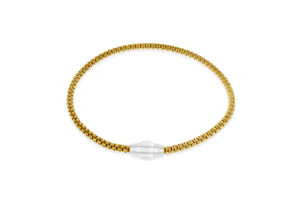 "Sterling Silver Yellow Gold Plated 3mm Magnetic  Bracelet 19m/7.5""9"
