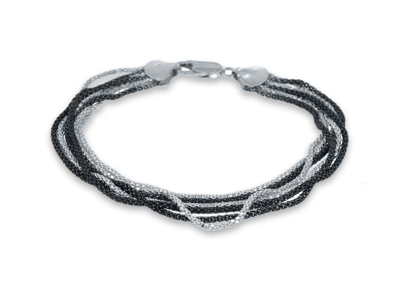 "Sterling Silver 6 Strand Black and White Poporn Bracelet 19m/7.5""9"