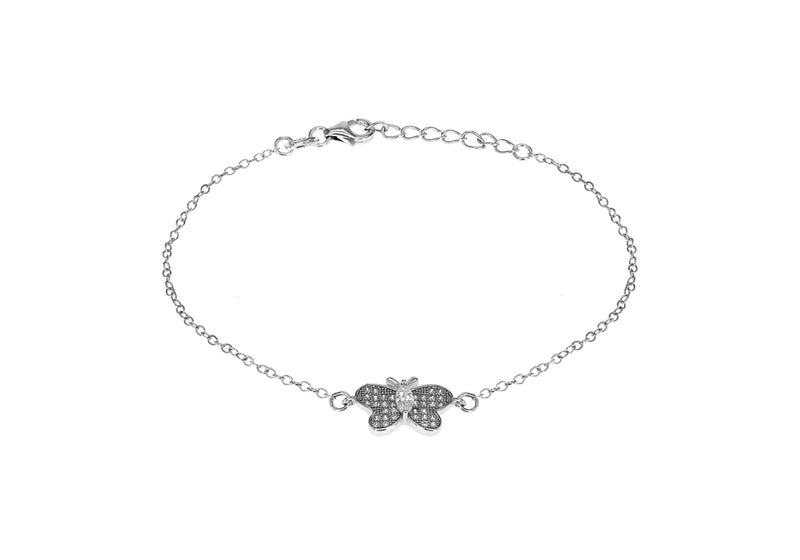 "Sterling Silver Rhodium Plated Zirconia Butterfly Bracelet 16.5cm/6.5""9"