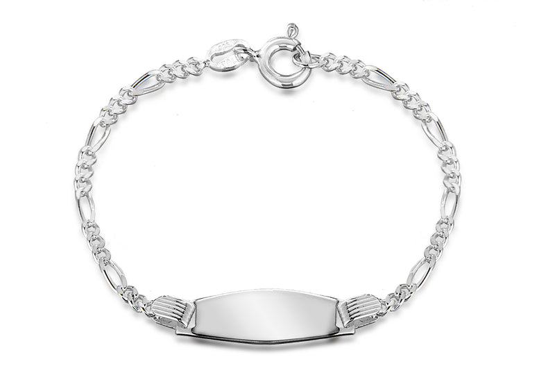 "Sterling Silver 20mm x 6.8mm Figaro Child's ID Bracelet 12.75m/5""9"