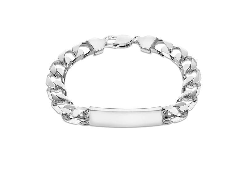 "Sterling Silver ID 9.6mm Curb Bracelet 21m/8.25""9"