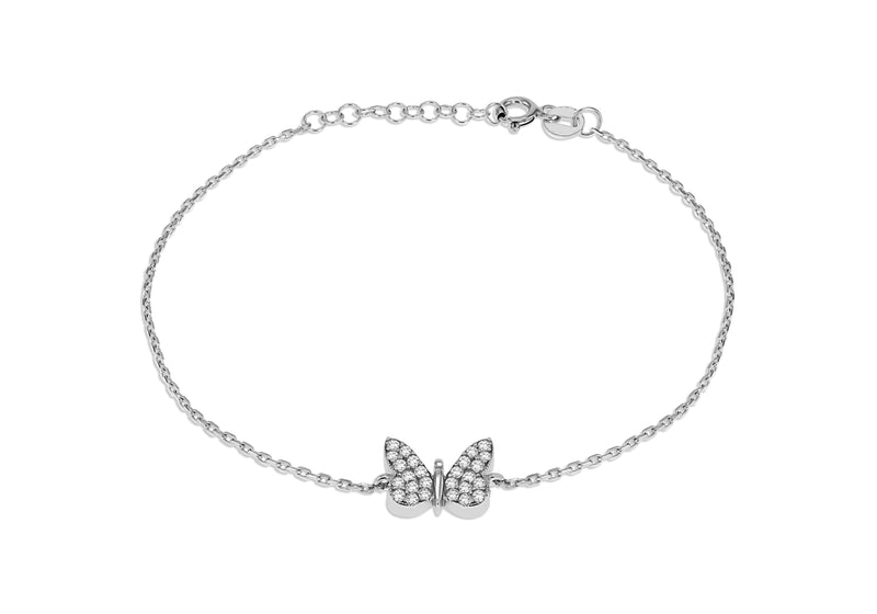 Sterling Silver Rhodium Plated Zirconia Butterfly Bracelet