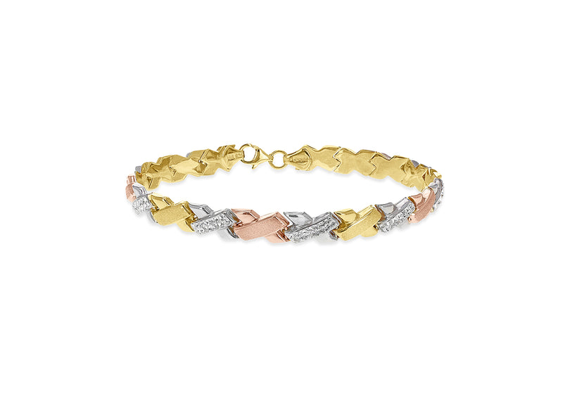 "Sterling Silver 3-Colour Gold Plated Crystal Kisses Bracelet 19m/7.5""9"