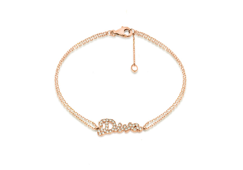"Sterling Silver Rose Gold Plated Zirconia  'Diva' Bracelet 19m/7.5""9"