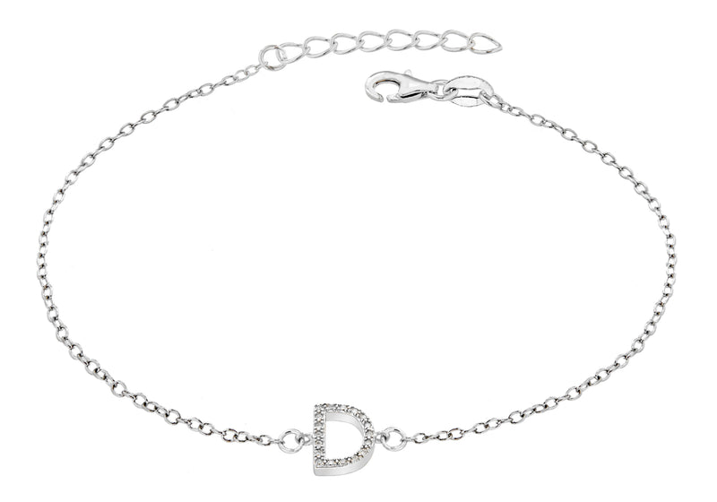 "Sterling Silver Rhodium Plated Zirconia  'D' Initial Bracelet 19m/7.5""9"
