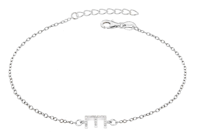 "Sterling Silver Rhodium Plated Zirconia  'E' Initial Bracelet 19m/7.5""9"