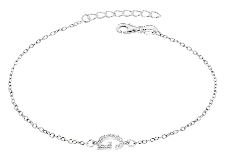 "Sterling Silver Rhodium Plated Zirconia  'G' Initial Bracelet 19m/7.5""9"