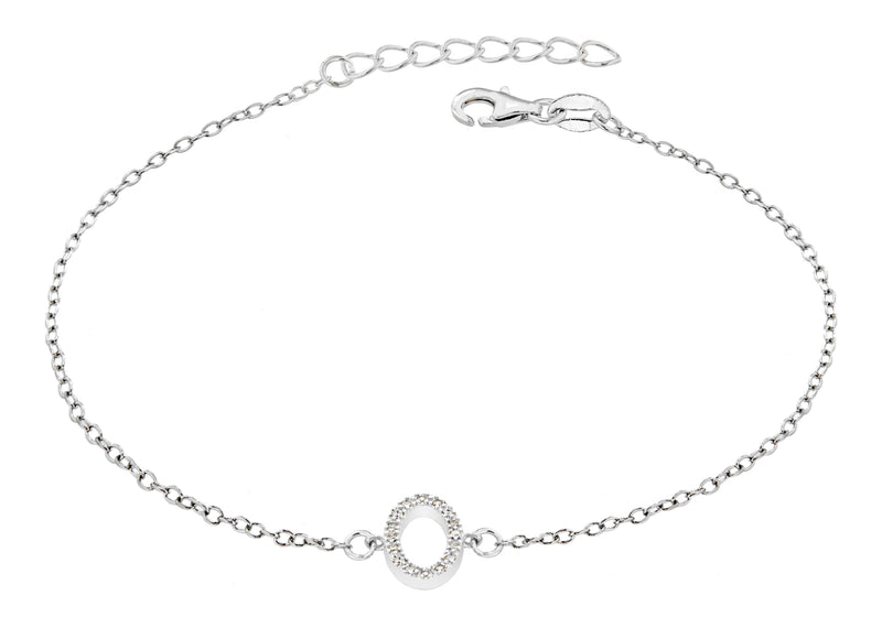 "Sterling Silver Rhodium Plated Zirconia  'O' Initial Bracelet 19m/7.5""9"