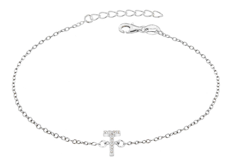 "Sterling Silver Rhodium Plated Zirconia  'T' Initial Bracelet 19m/7.5""9"