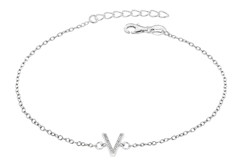 "Sterling Silver Rhodium Plated Zirconia  'V' Initial Bracelet 19m/7.5""9"