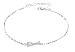 "Sterling Silver Rhodium Plated Zirconia  Key Adjustable Bracelet 16.5m/6.5""-19m/7.5""9"