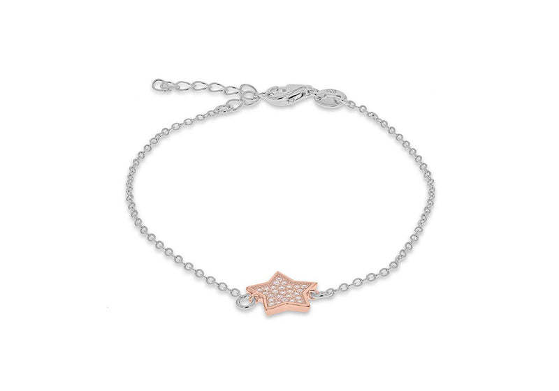 "Sterling Silver Rhodium and Rose Gold Plated Zirconia  10.8mm x 10.4mm Star Bracelet 17m/6.5""-19m/7.5""9"