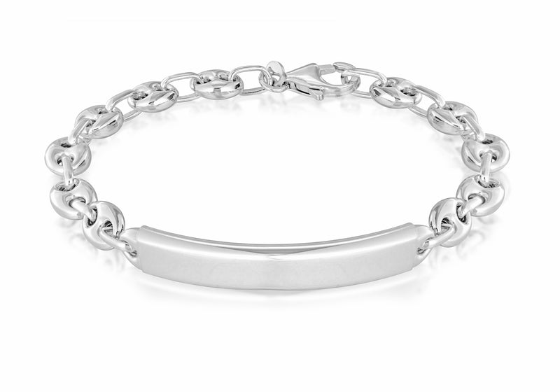 Sterling Silver Rhodium Plated ID Bracelet
