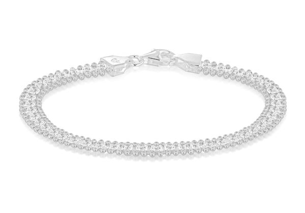 "Sterling Silver Square Zirconia  and Ball Chain Bracelet 19m/7.5""9"