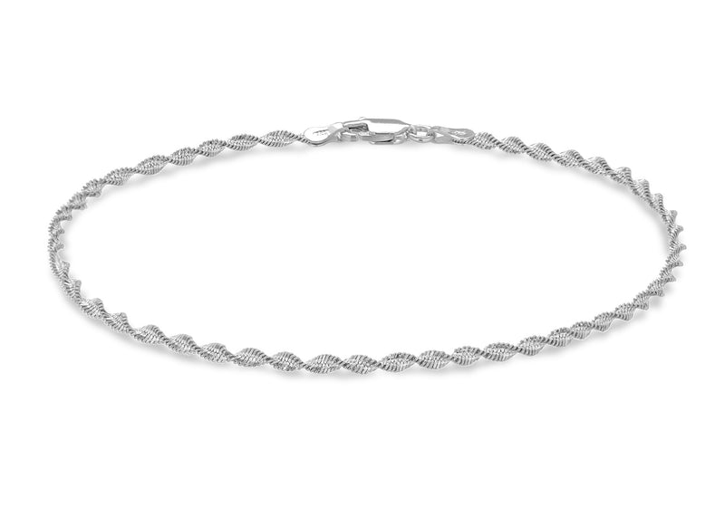 "Sterling Silver 2.4mm Twisted Herringbone Bracelet 19m/7.5""9"