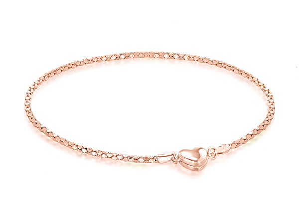 Sterling Silver Rose Gold Tone Magnetic Heart Poporn Chain Bracelet
