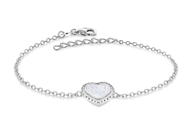 "Sterling Silver Rhodium Plated Floating Zirconia  Stones Heart Bracelet 19m/7.5""9"