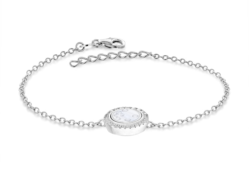 "Sterling Silver Rhodium Plated Floating Zirconia  Stones Round Bracelet 19m/7.5""9"