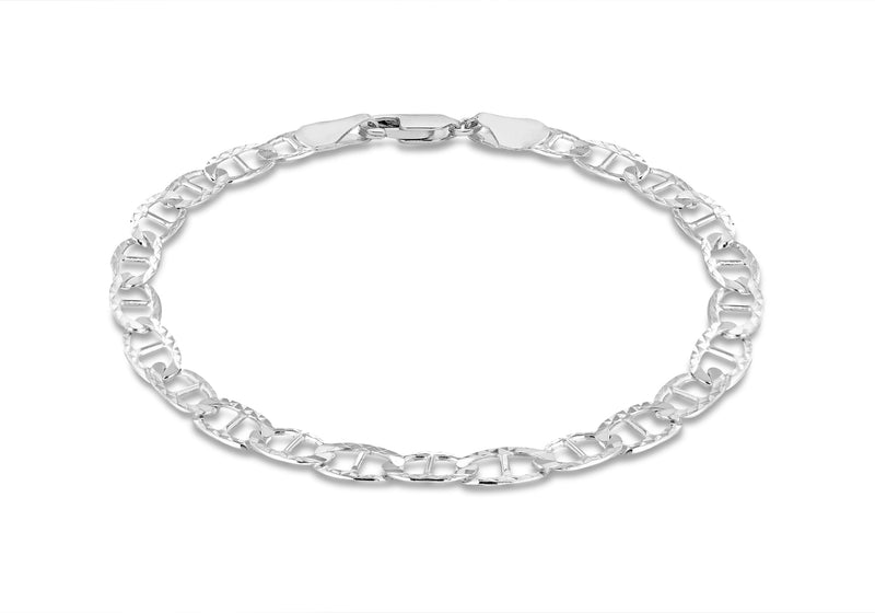 "Sterling Silver 120 Diamond Cut Rambo Chain Bracelet 19m/7.5""9"