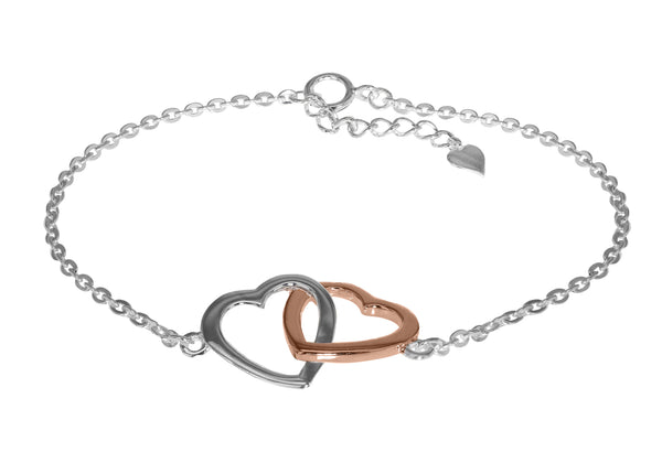 Sterling Silver White and Rose Gold Plated Double-Heart Adjustable Bracelet