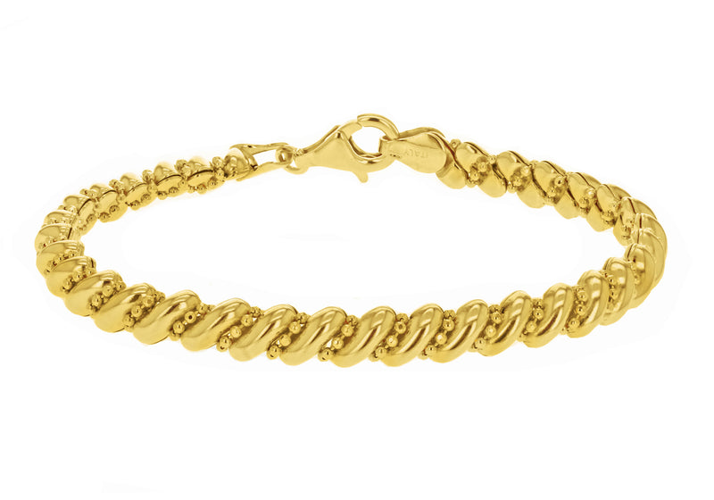 Sterling Silver Gold Plated San Marco and Bead Bracelet