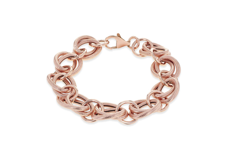 "Sterling Silver Rose Gold Plated Textured and Polished Loopy Rings Bracelet 20m/8""9"