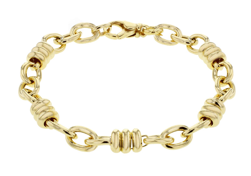 Sterling Silver Yellow Gold Plated Oval Rings Link Bracelet