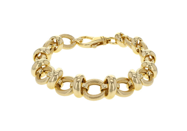 "Sterling Silver Yellow Gold Plated Textured and Polished Rings Bracelet 20m/8""9"