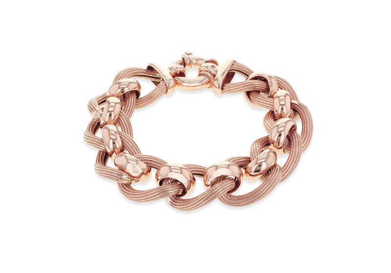 "Sterling Silver Rose Gold Plated Large Textured and Polished Rollerball Bracelet 20m/8""9"